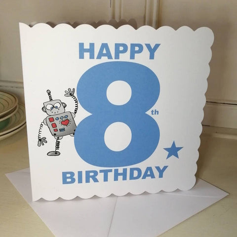 Robot 8th Birthday Card For A 8 Year Old Boy Or Girl