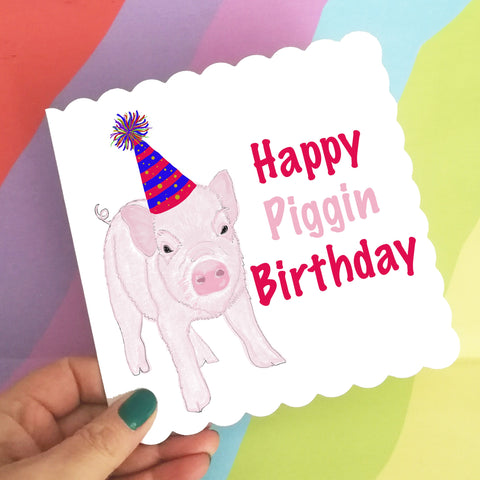 Piglet pun birthday card, little pig card, cute pig birthday card, piglet birthday card, pink piglet card