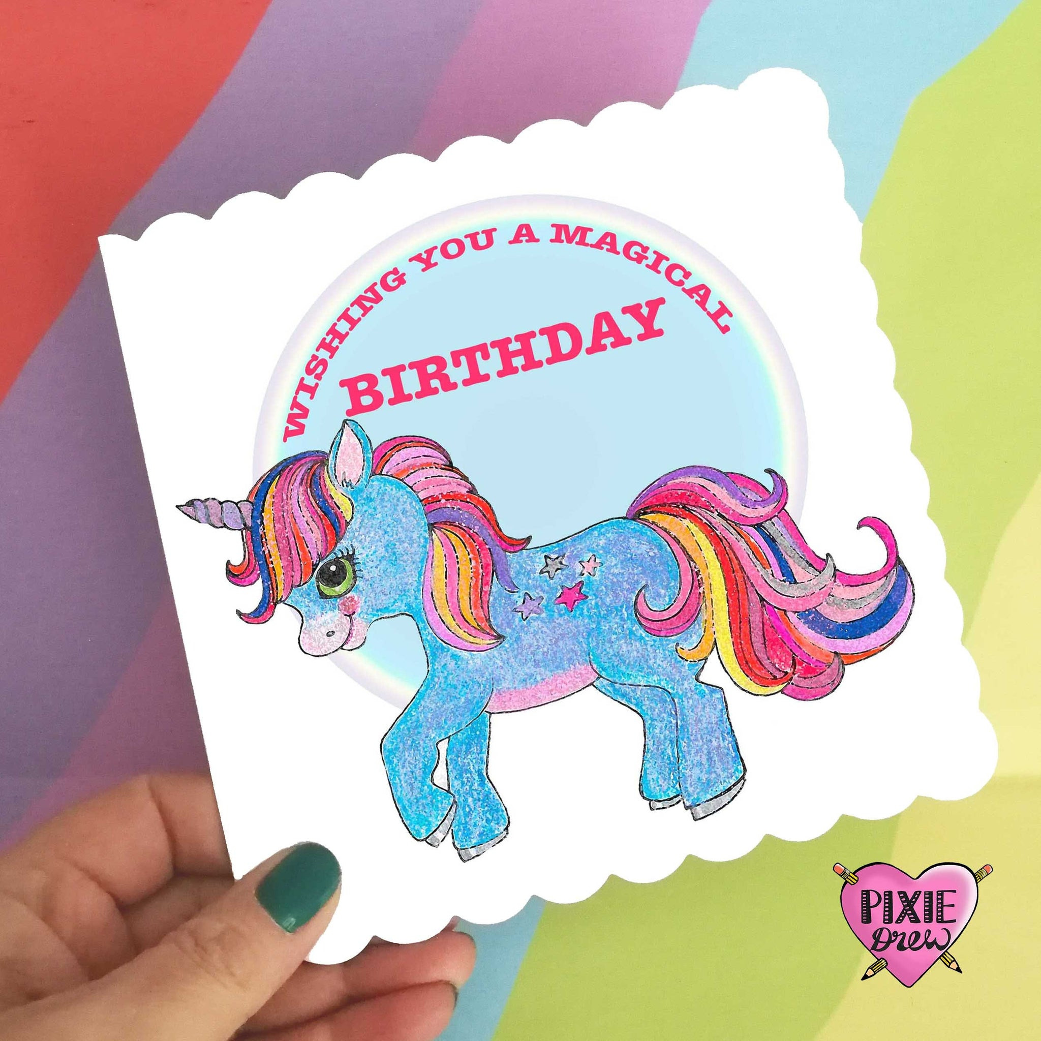 Magical birthday unicorn card, unicorn greeting card, happy birthday card, card for a girl, rainbow card, unicorn rainbow card, unicorn.