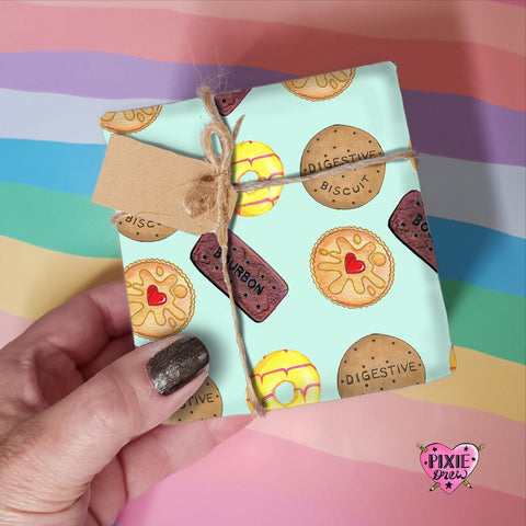Biscuit wrapping paper, jammy dodger, bourbon, digestive Gift wrap.