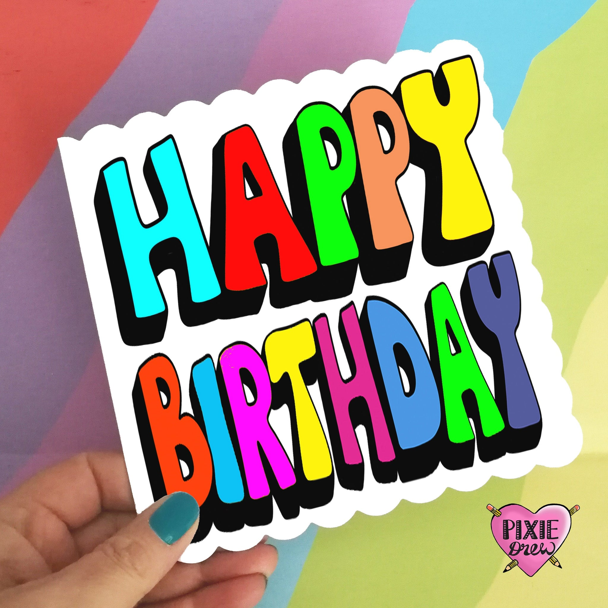 Happy birthday card, hand typography lettering