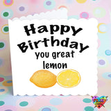 Quirky birthday card, happy birthday you great lemon, insulting birthday card, sibling card, brother card