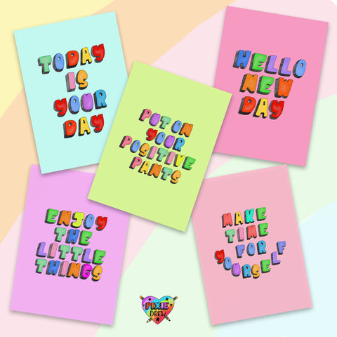 Positive postcard set, motivational postcards, wall art, fridge art, positive pants, today is a good day,  pin board art.