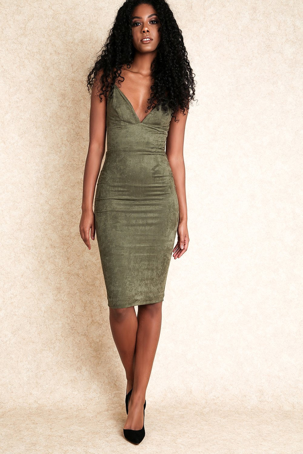 Alma Green Suede Midi Dress with Exposed Zip - Klasha
