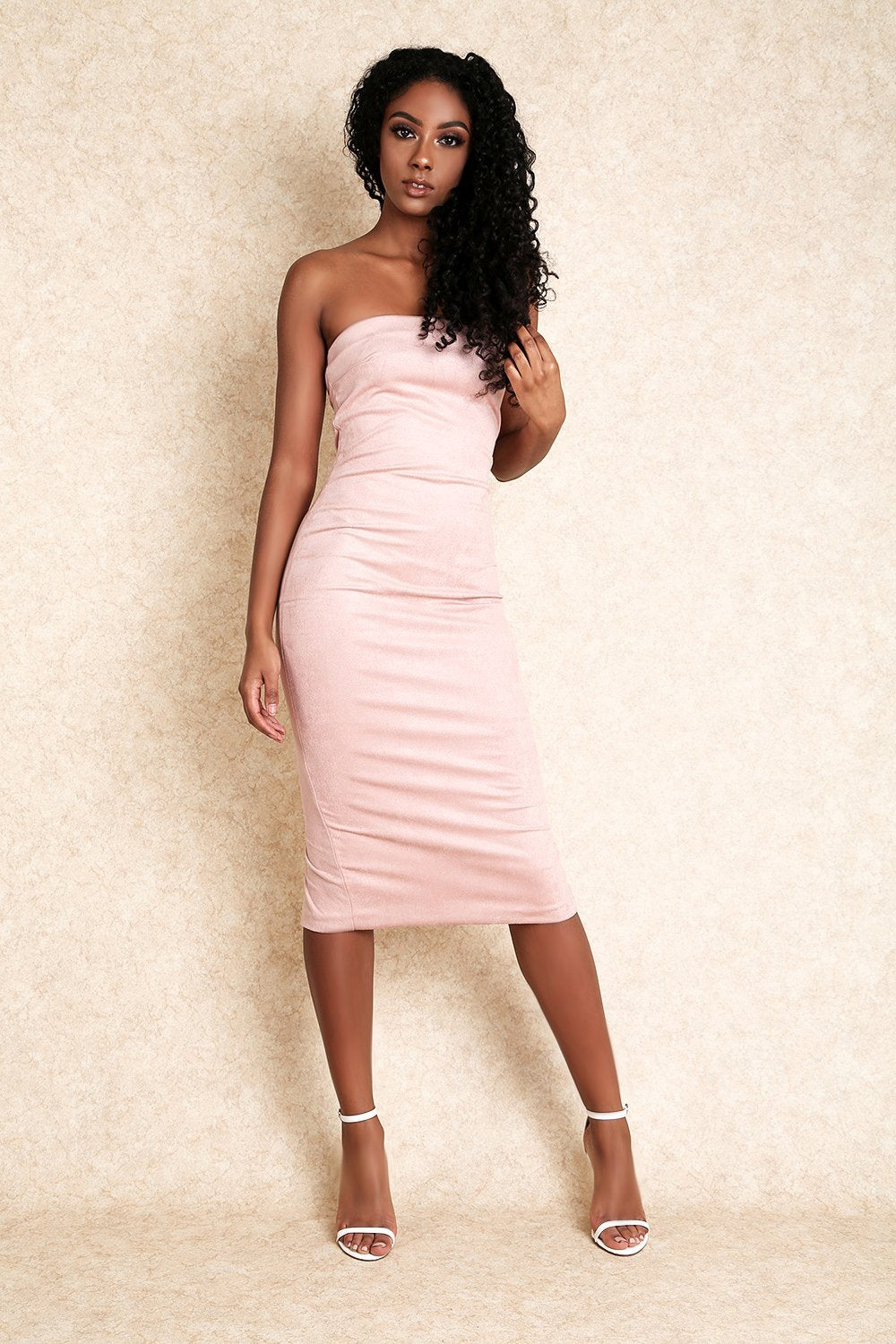 Amara Faux Suede Mini Dress with Exposed Zipper in Blush - Klasha