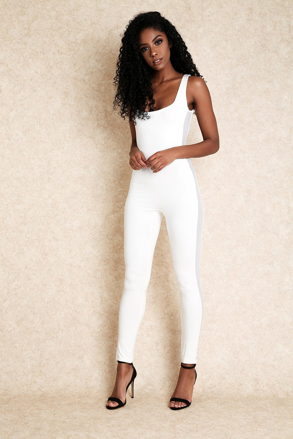 Sisley White One Piece Jumpsuit with Side Mesh Panel