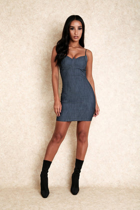 It's Over Babe Denim Bustier Mini Dress - Klasha