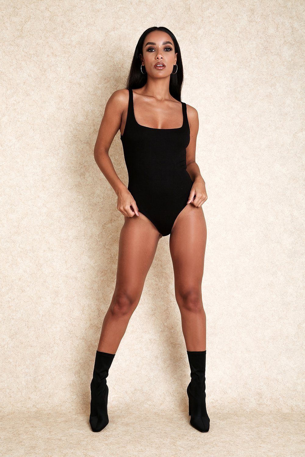 Audriana Black Ribbed Thong Stretch Bodysuit - Klasha