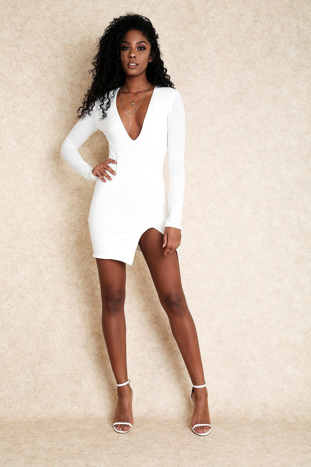 Zaya White Jersey Mini Dress With Slit on the Side - Klasha