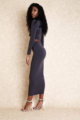 Tuesday Lover Dark Grey Knot Front Maxi Skirt Set - Klasha