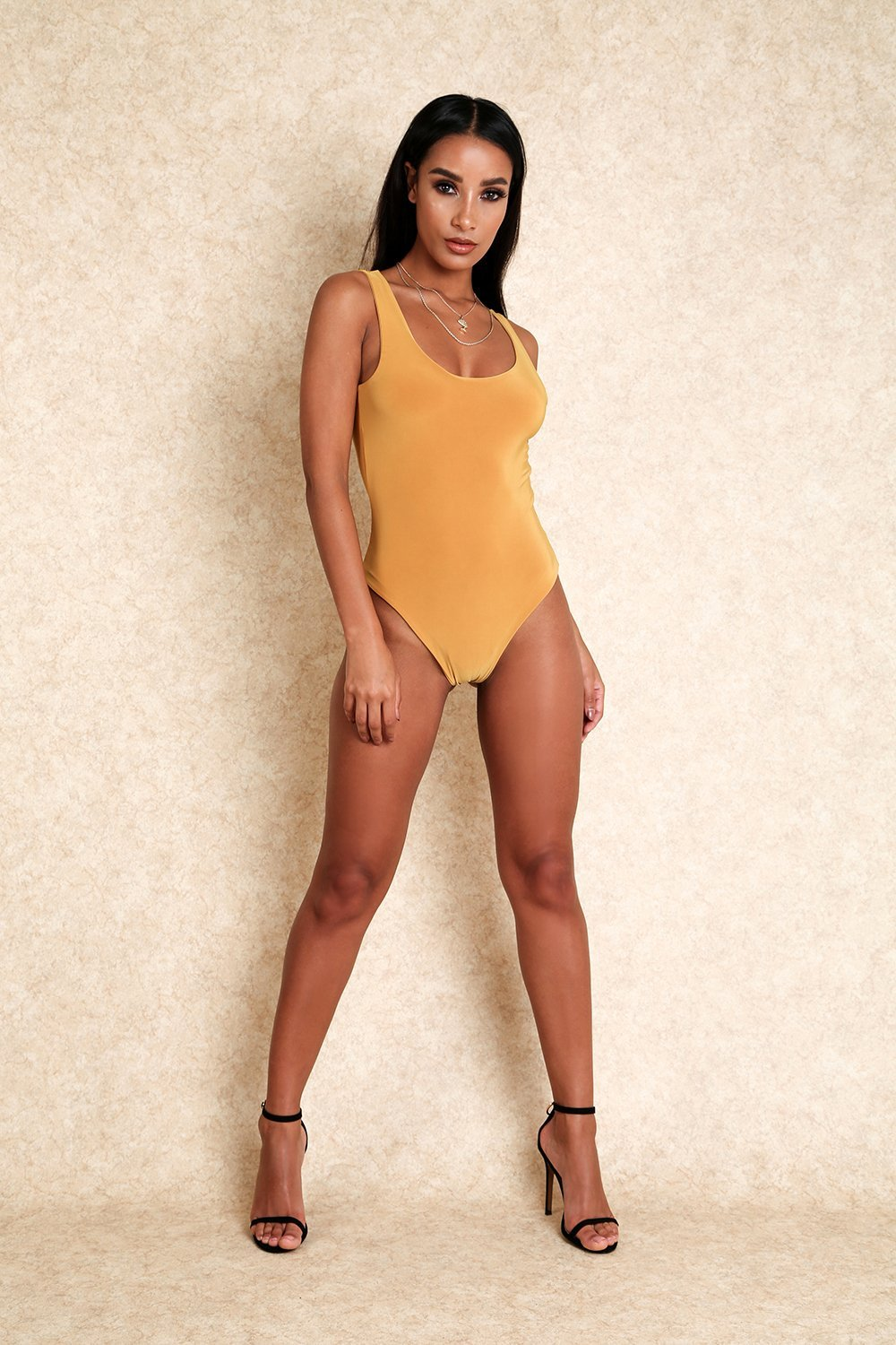 Baby Girl Mustard Yellow Thong Scoop Back Stretch Bodysuit - Klasha