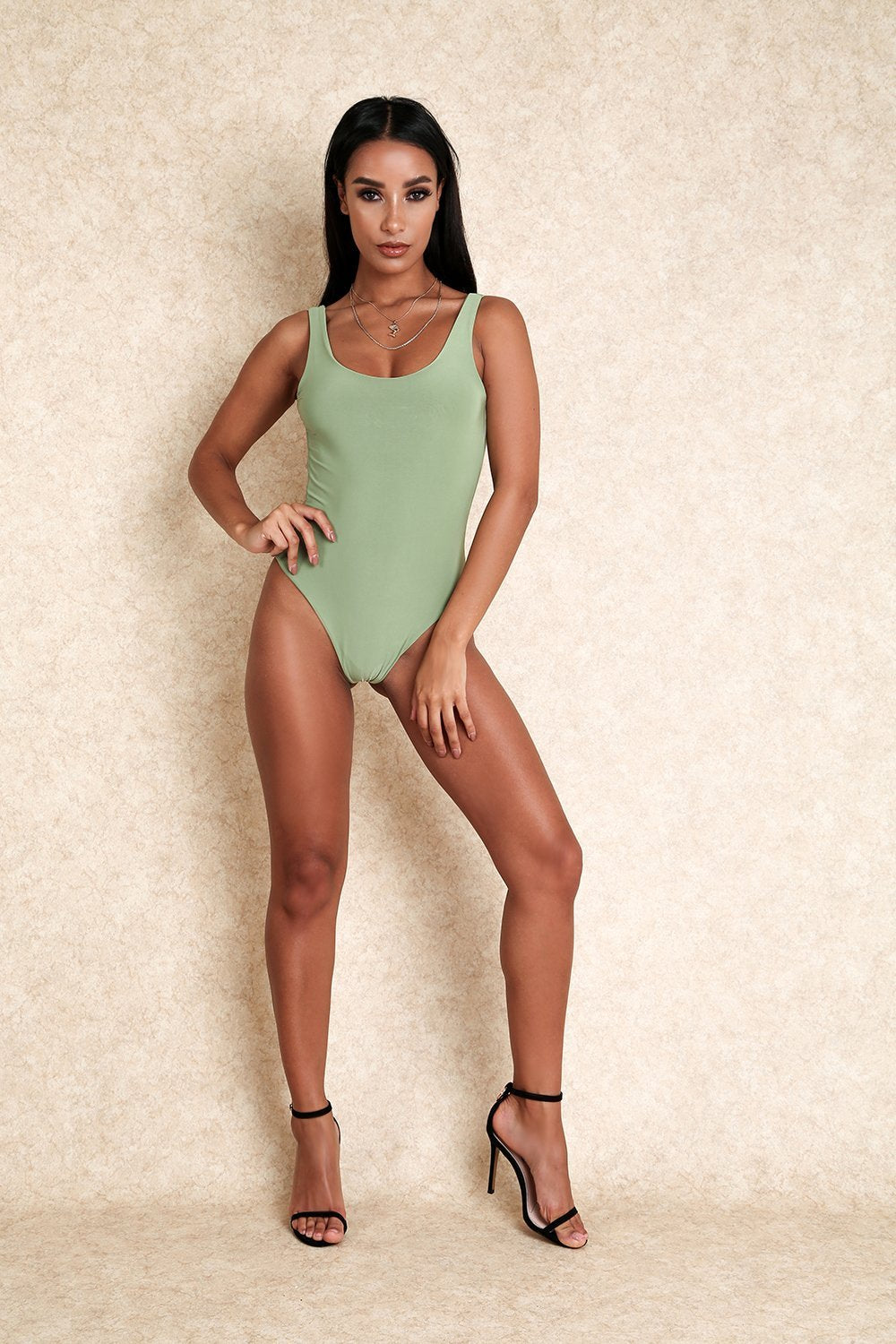 Baby Girl Sage Green Thong Scoop Back Stretch Bodysuit - Klasha