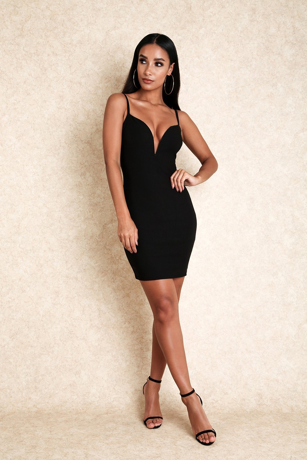 Haven Black Stretch Plunge Neck Bodycon Dress-Dresses-Klasha