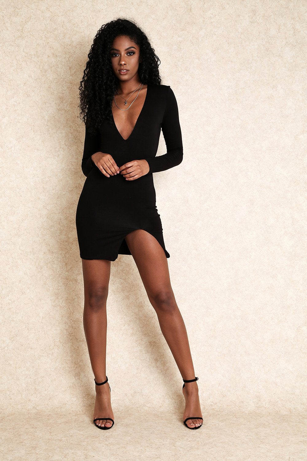 Zaya Black Jersey Mini Dress With Slit on the Side-Dresses-Klasha