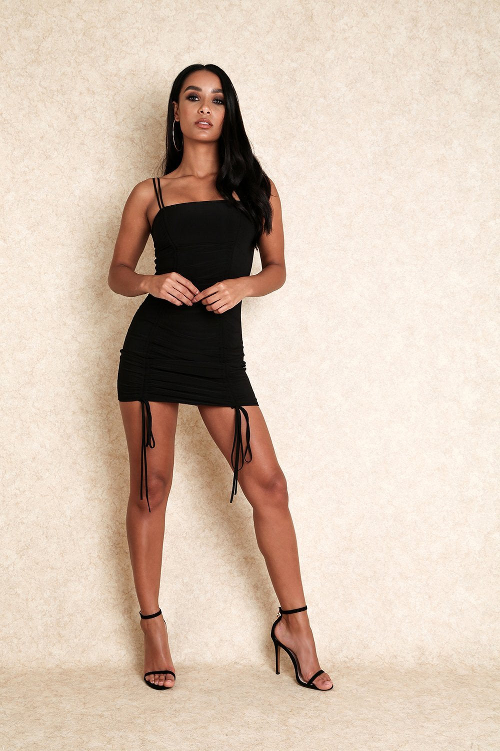 Wild Girl Adjustable Straps Mini Dress With Lace Up Detail - Klasha