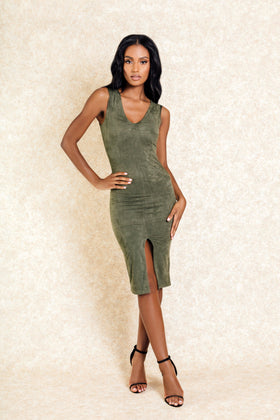 Selena Green Suede Slit Front Midi Dress