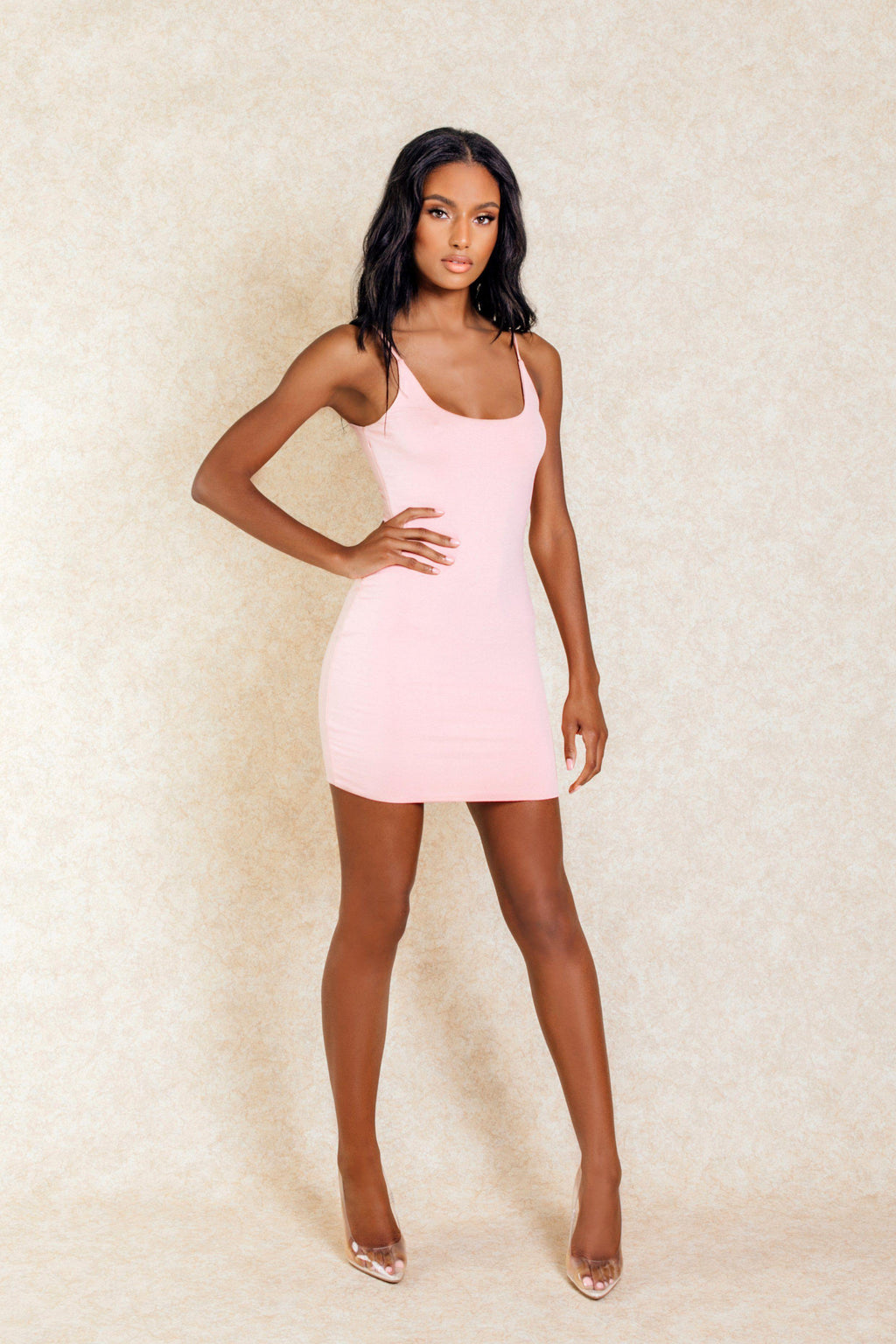 Anais Blush Pink Crepe Stretch Mini Dress - Klasha