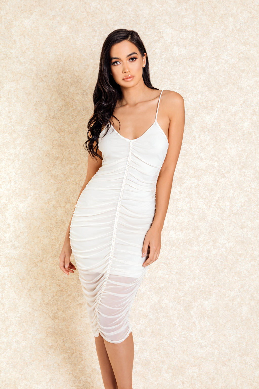 Made for You Nude Rouched Front Midi Dress