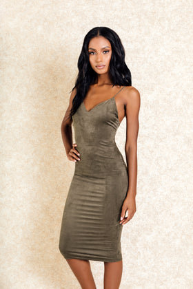Nneka Olive Green Suede Bodycon Midi Dress