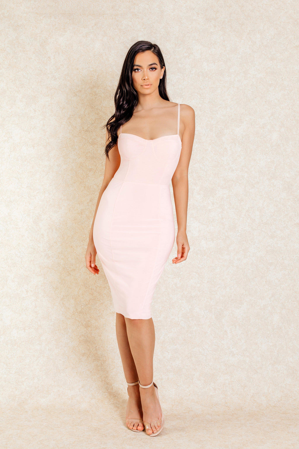 Anoushka Pink Ribbed Midi Dress - Klasha