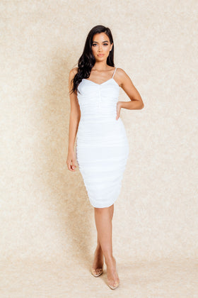 South Beach White Rouched Front Midi Dress