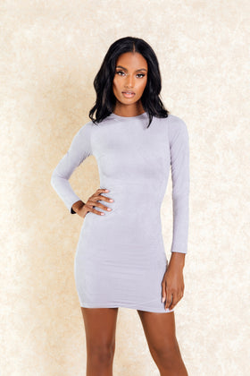 Dasha Grey Longsleve Zip Back Mini Dress - Klasha
