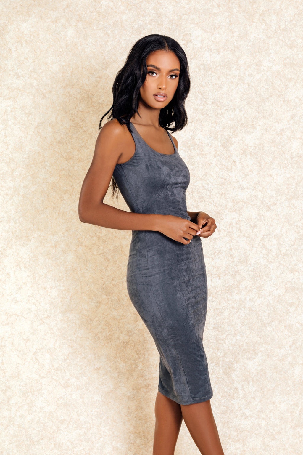 Sade Grey Suede Midi Dress