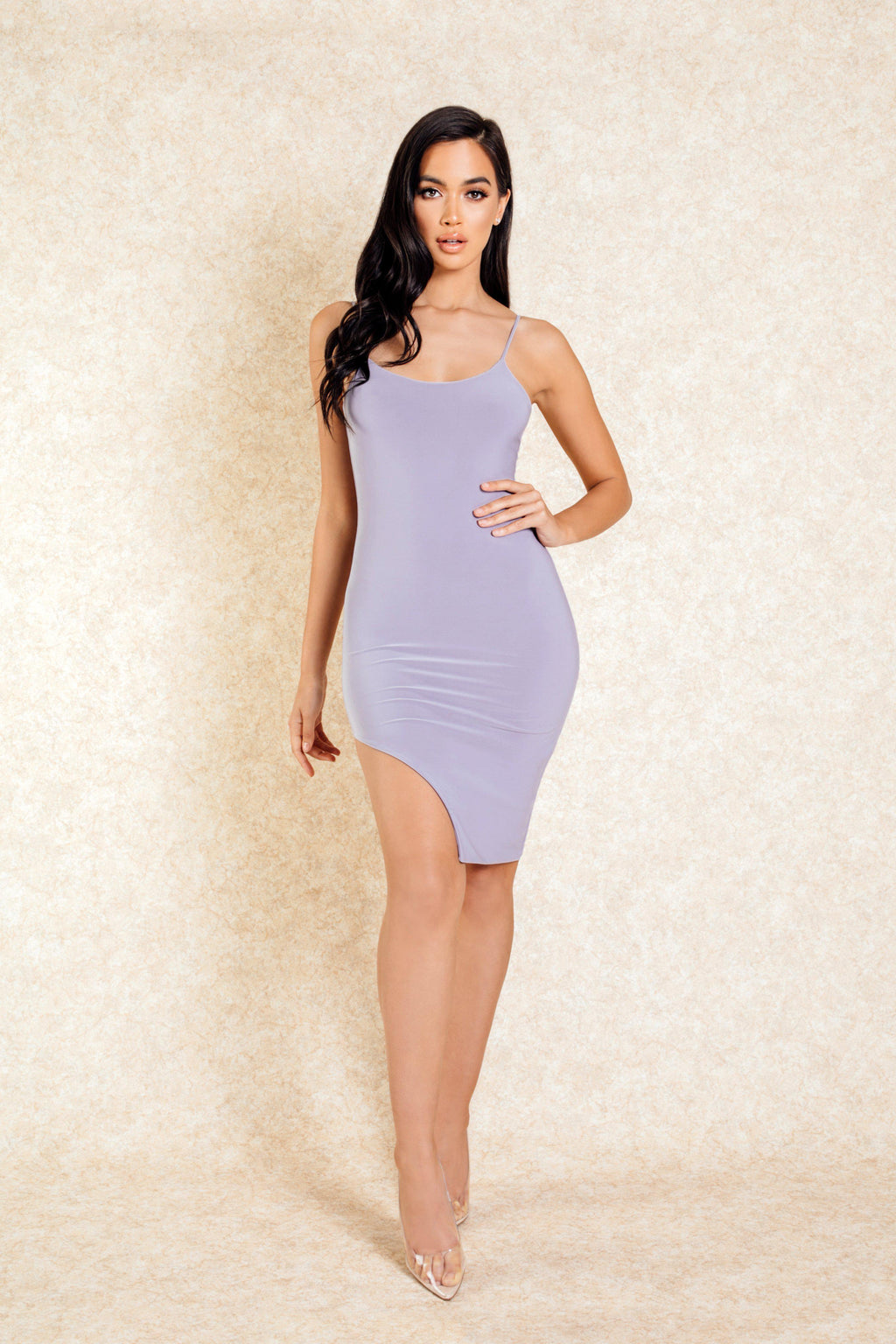 Aiko Grey Slit Mini dress - Klasha