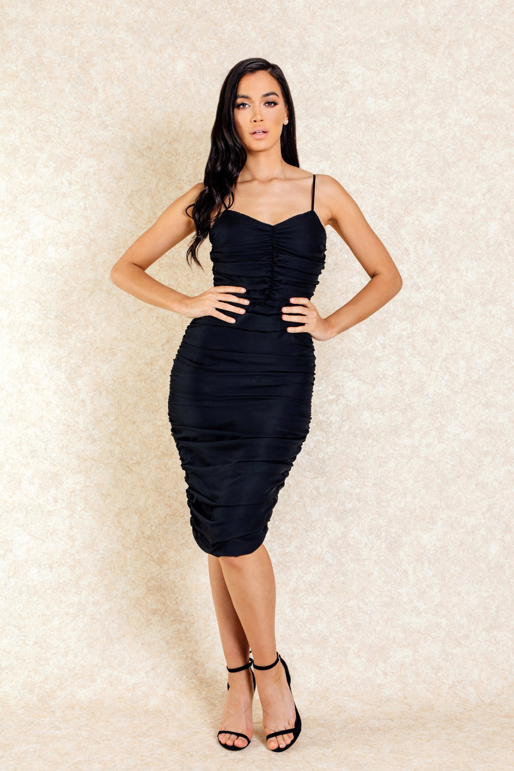 South Beach Black Rouched Midi Dress
