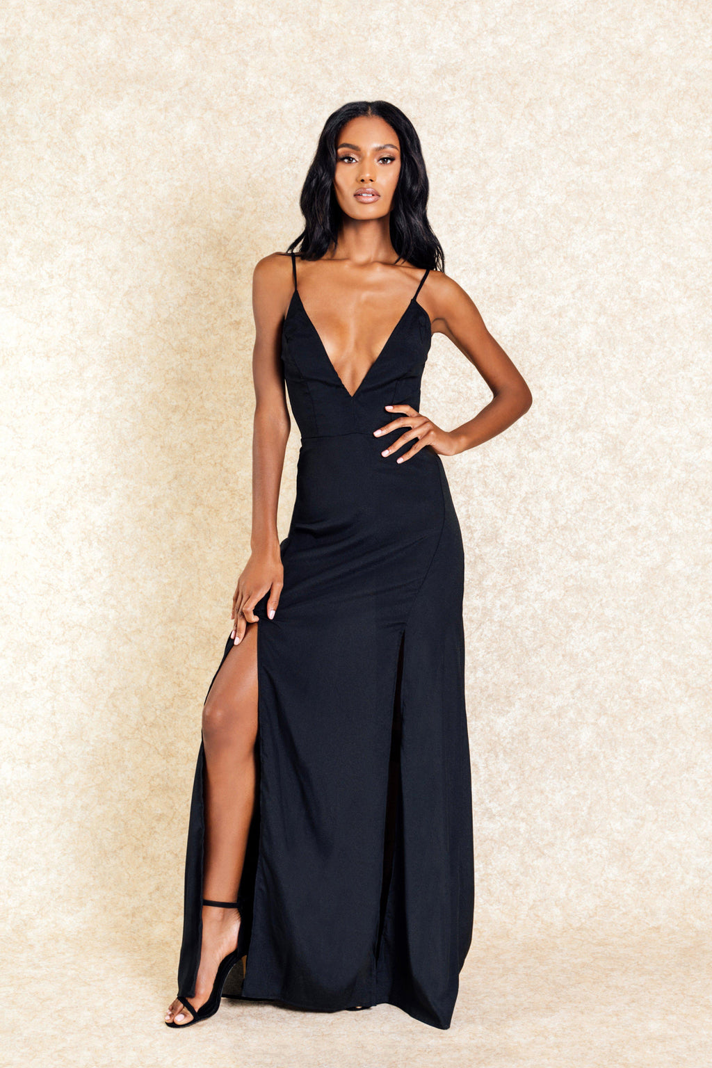 Tanisha Black Maxi Double Slit Dress - Klasha