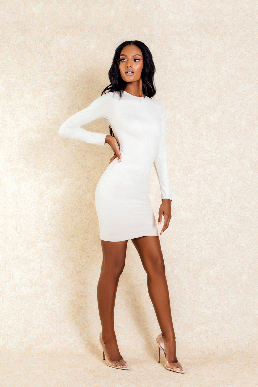 Dasha Nude Longsleeve Suede Mini Dress