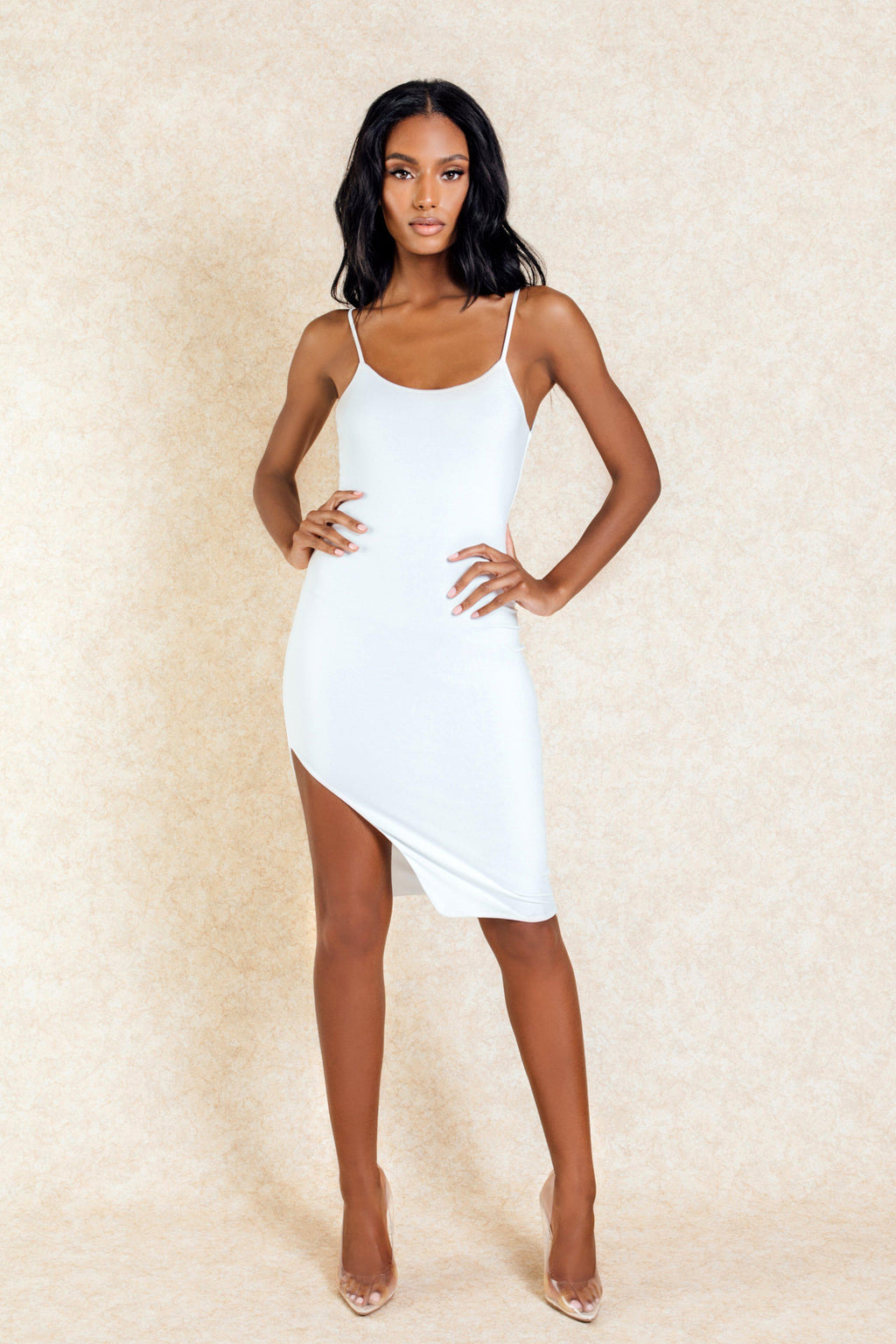 Aiko White Mini Slit Bodycon Dress - Klasha
