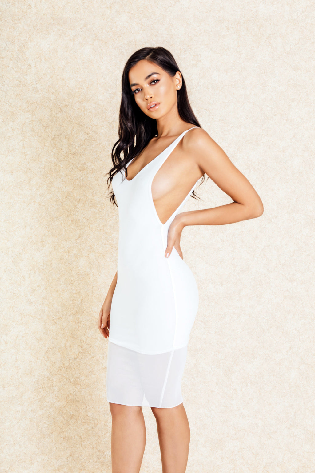 Kori White Mesh Overlay Dress-Dresses-Klasha