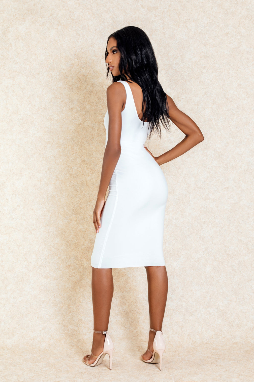 Celeste White Midi Stretch Bodycon Dress-Dresses-Klasha