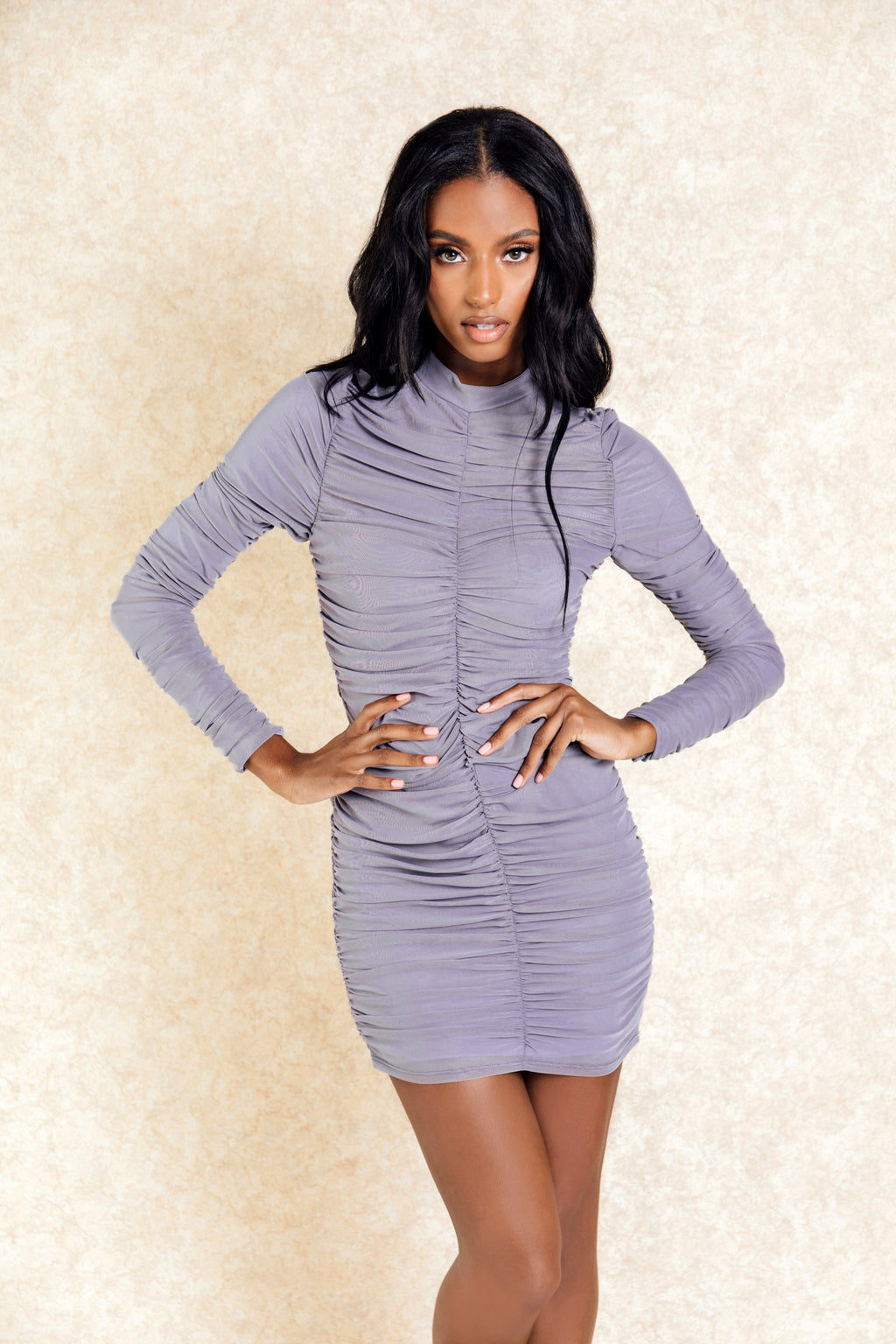 Kora Grey Rouched Long Sleeve Mini Dress - Klasha