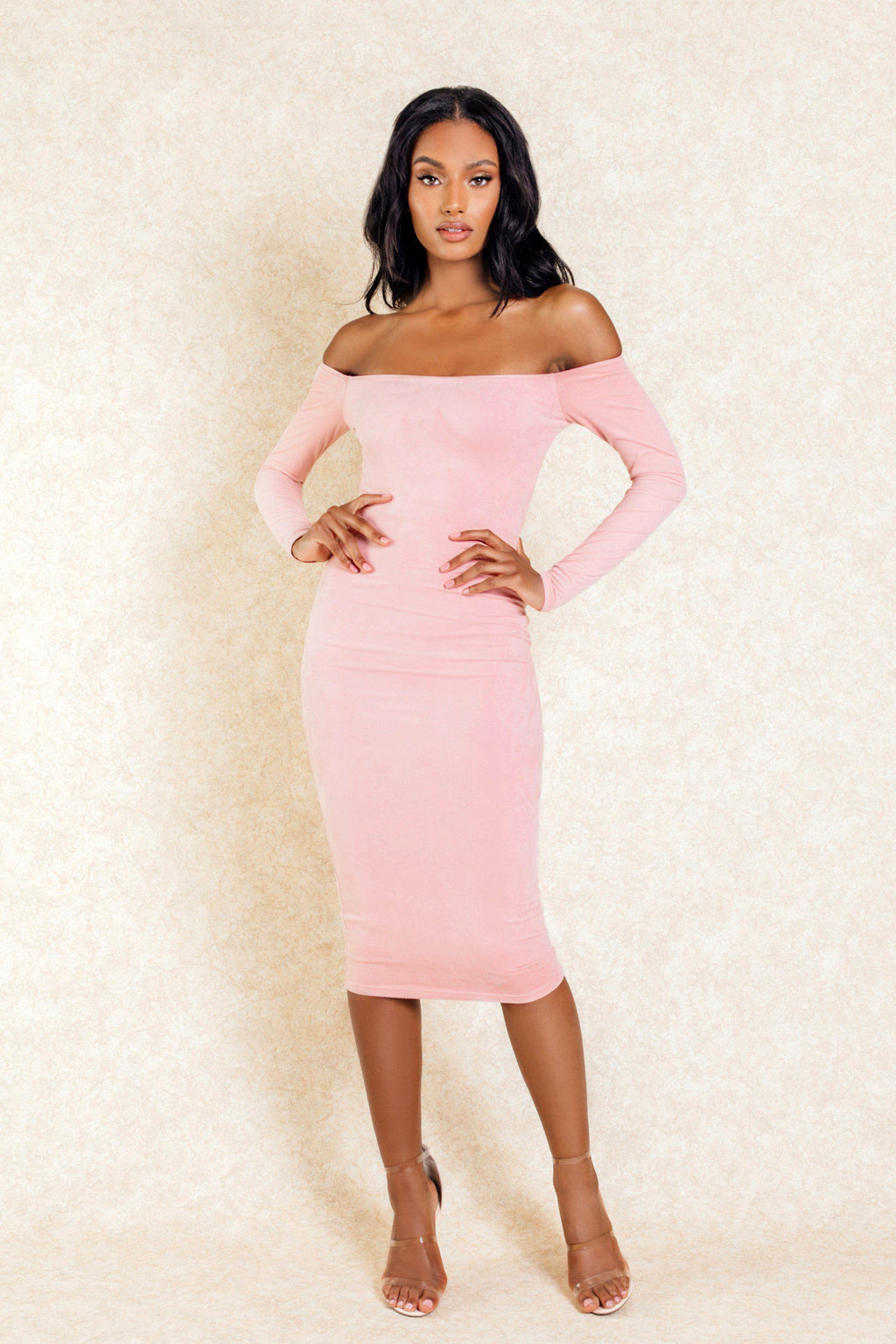 Catalina Blush Midi Long Sleeve Suede Off The Shoulder Dress - Klasha