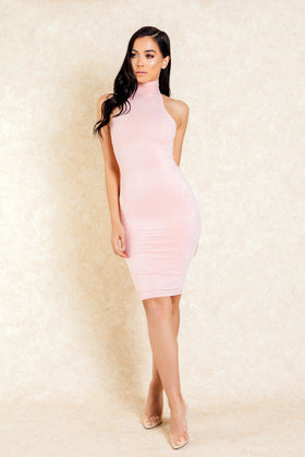 Arlo Pink Suede High Neck Midi Bodycon Dress - Klasha