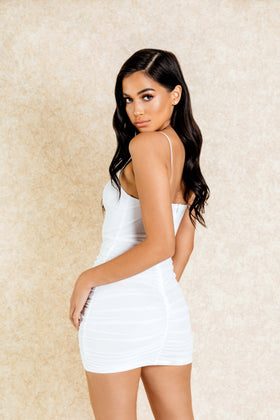 Esi White Ruched Mini Dress - Klasha