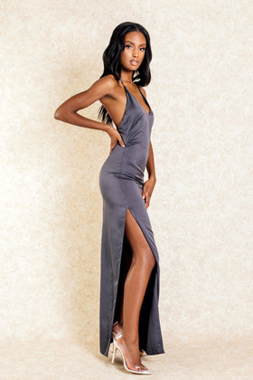 Alyssa Dark Grey Cross Back Silk Maxi Dress - Klasha