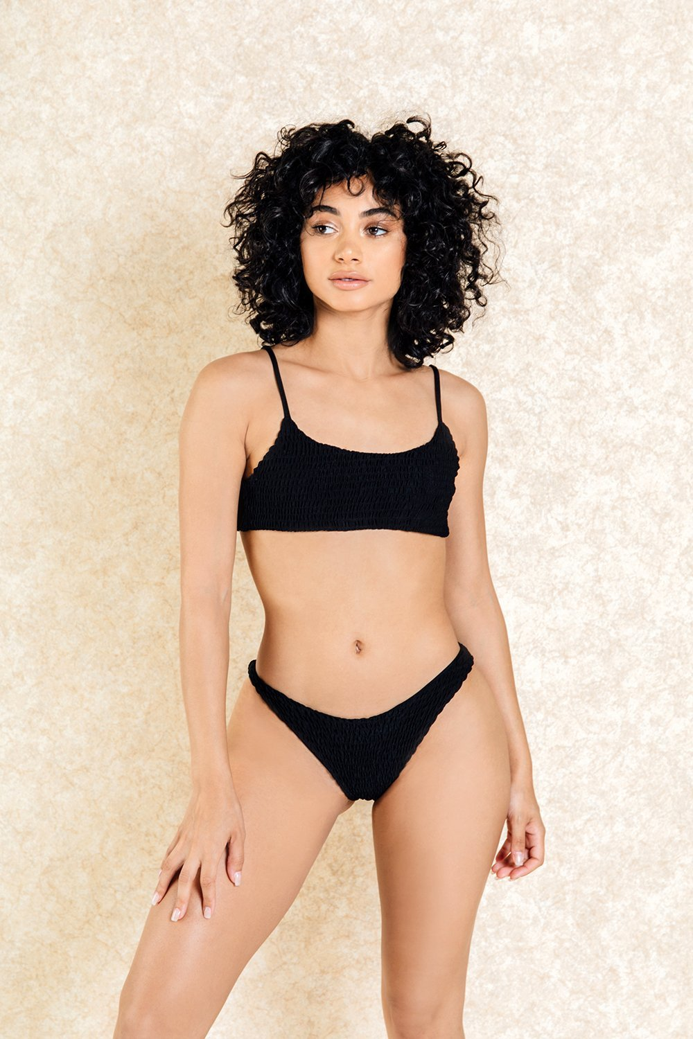 Hendrix Black Crop Super Short Bikini Set - Klasha