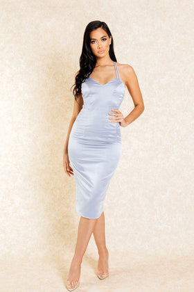Selma Grey Double Strap Midi Dress