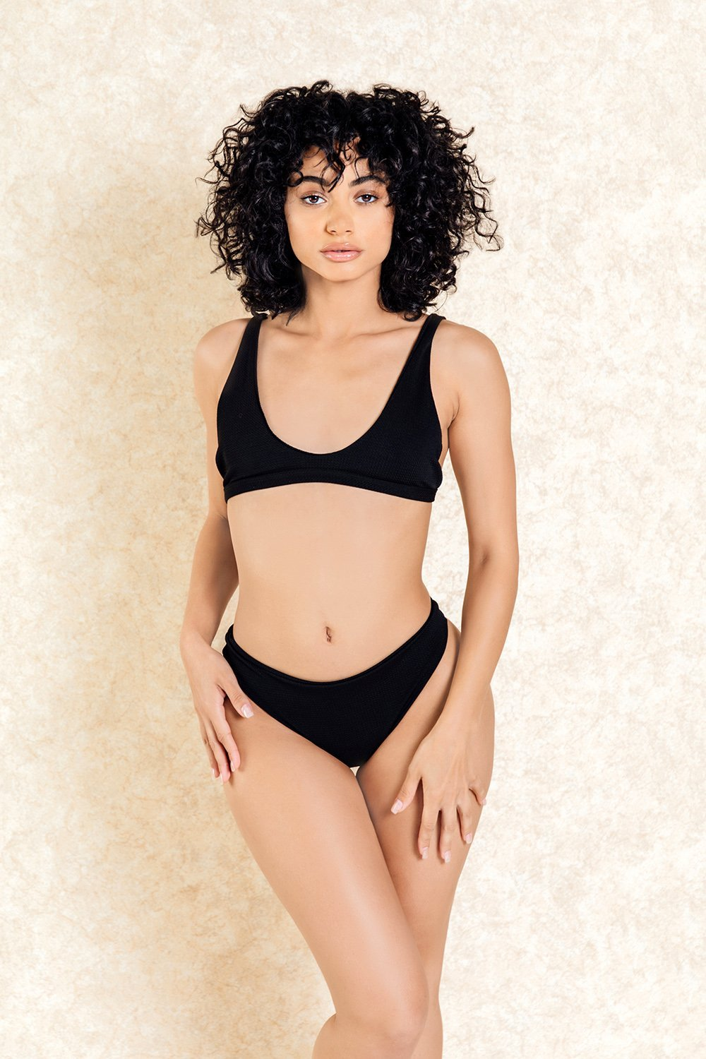 Rumi Black Textured Bra Front Bikini Set
