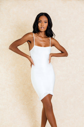 Lori White Bodycon Fringe Mini Dress