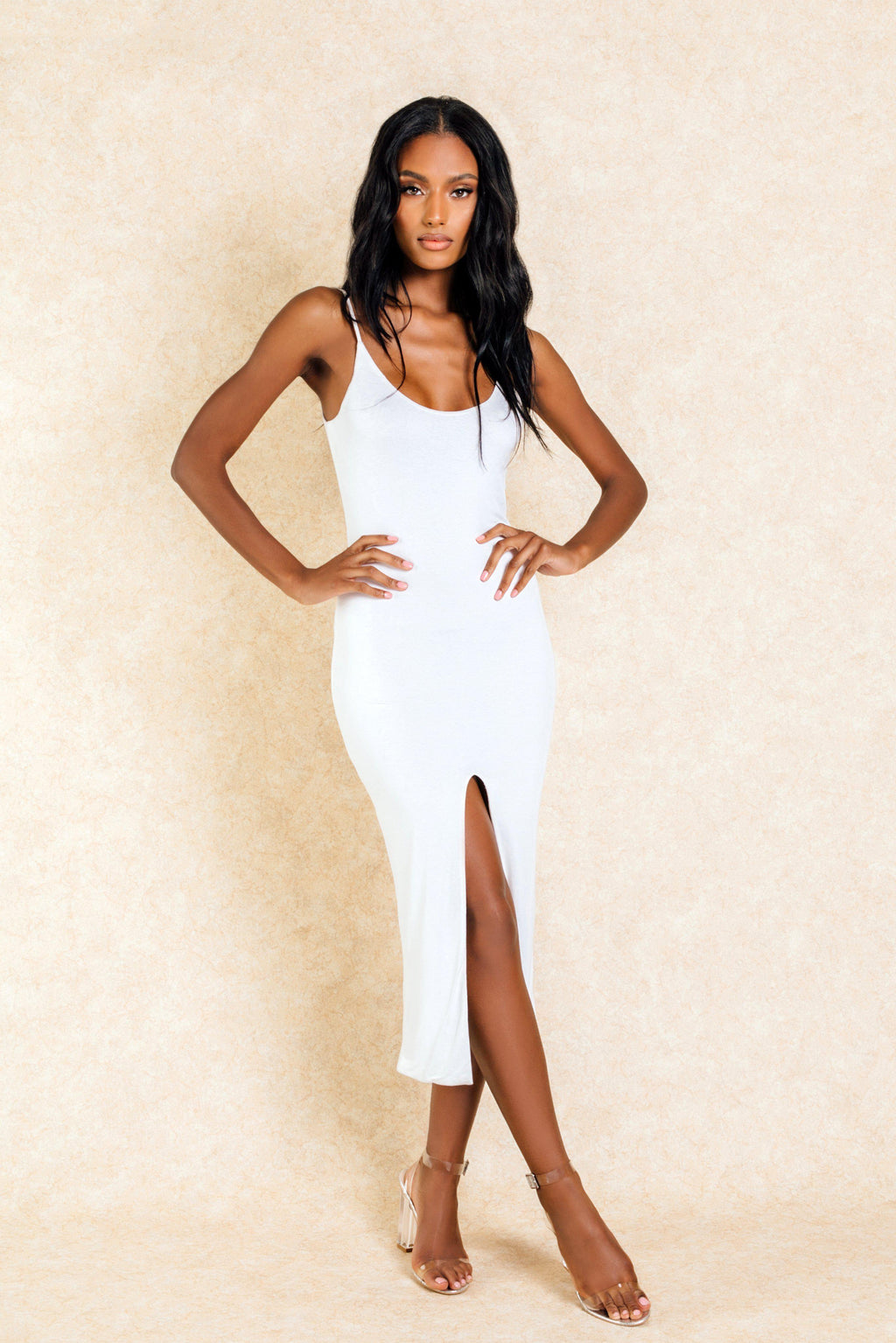 Ayla White Split Front Midi Bodycon Dress - Klasha