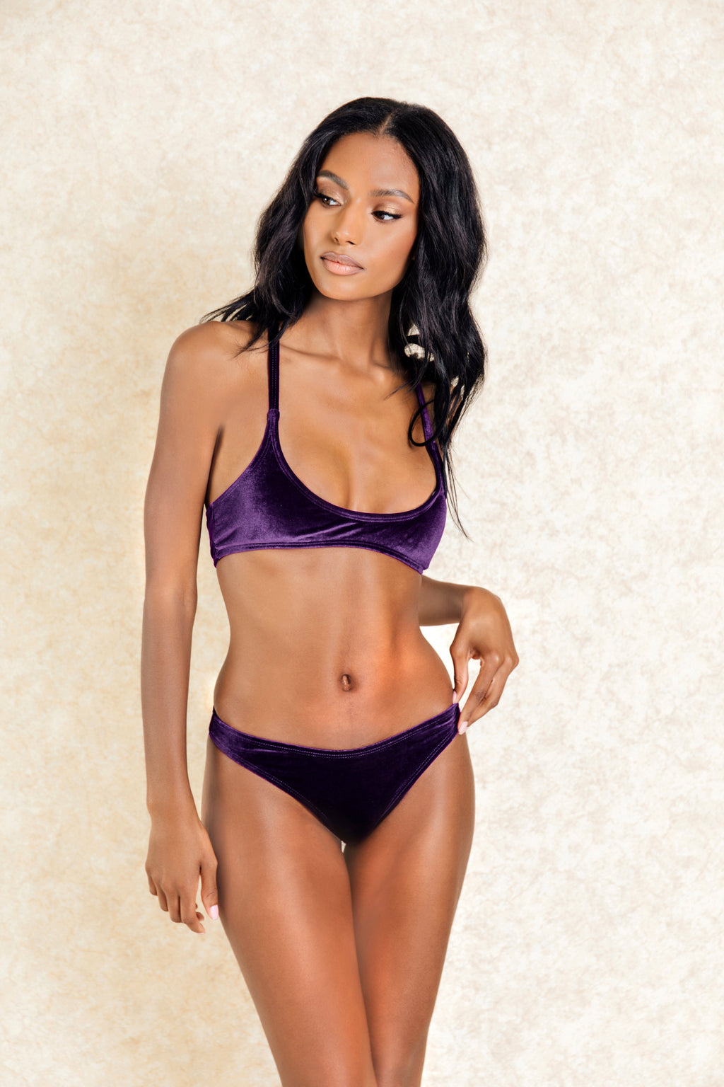 Niko Purple Velvet Brief Bikini Set