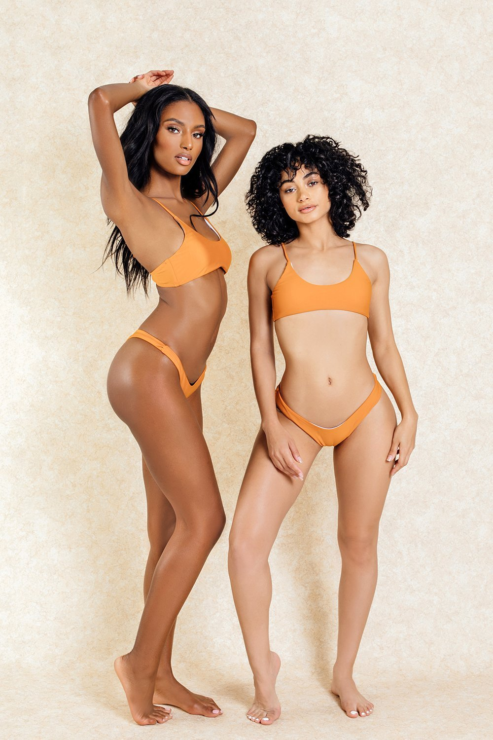 Kendall Orange Crop Top Bikini Set - Klasha