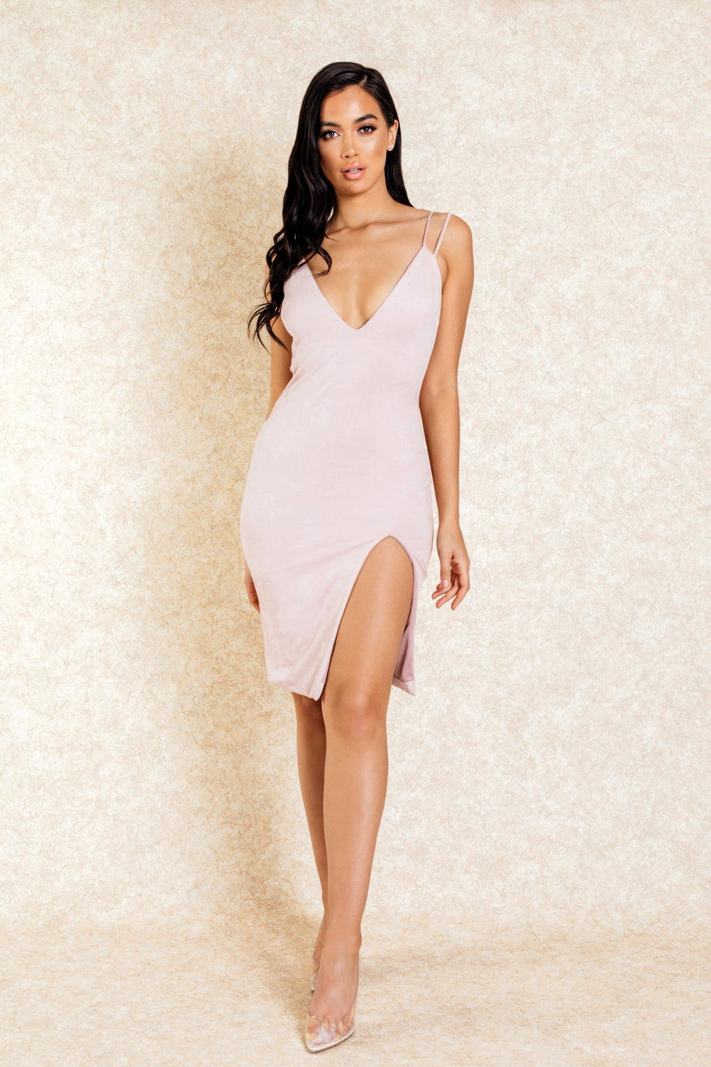 Zahra Blush Suede Double Strap Dress with Slit-Dresses-Klasha