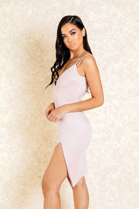 Zahra Blush Suede Double Strap Dress with Slit - Klasha