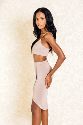 Lana Two Piece Brown Nude Co Ord Set - Klasha