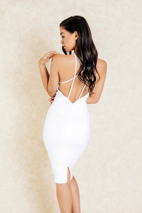 Khartoum White Criss Cross Back Midi Bodycon Dress - Klasha